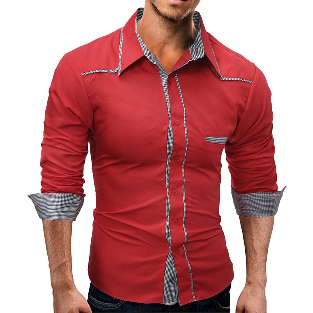 Men's Blouse-Clearance Sale!! Farjing Men's Autumn Pure Color Long Sleeved Stand Collar Button Sweatshirts Top Blouse(L,Red)
