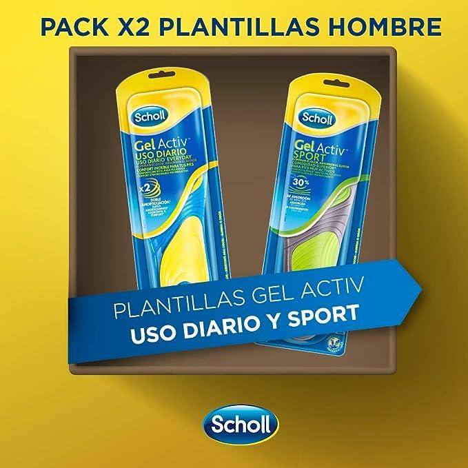804ff5f8a76 Scholl Gel Activ - Pack de 2 Plantillas Uso Diario y Sport para Hombre -  40-46.5