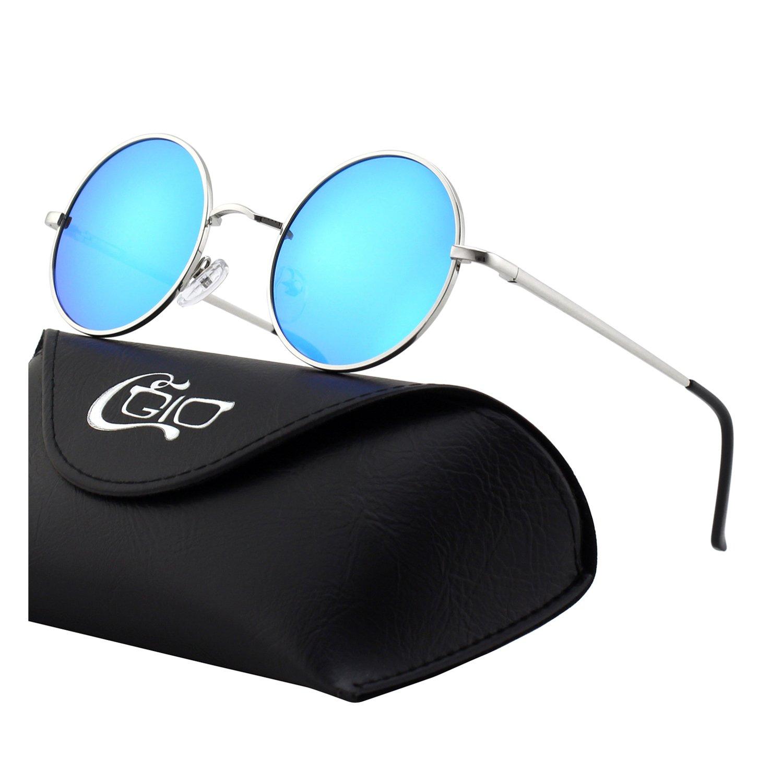 CGID E01 Small Retro Vintage Style Lennon Inspired Round Metal Circle Polarized Sunglasses for Women and Men