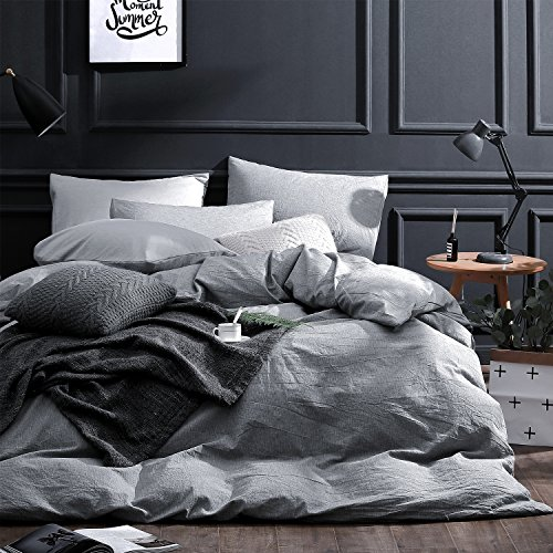 NTBAY 3 Pieces Duvet Cover Set Solid Color 100% Premium Combed Cotton Vintage Style with Hidden Zipper Design, Grey, Queen
