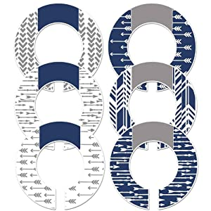 """6 Adult or Baby Boy Nursery Clothing Size Closet Dividers Navy Gray Arrows (Fits 1.5"""" Rod)"""