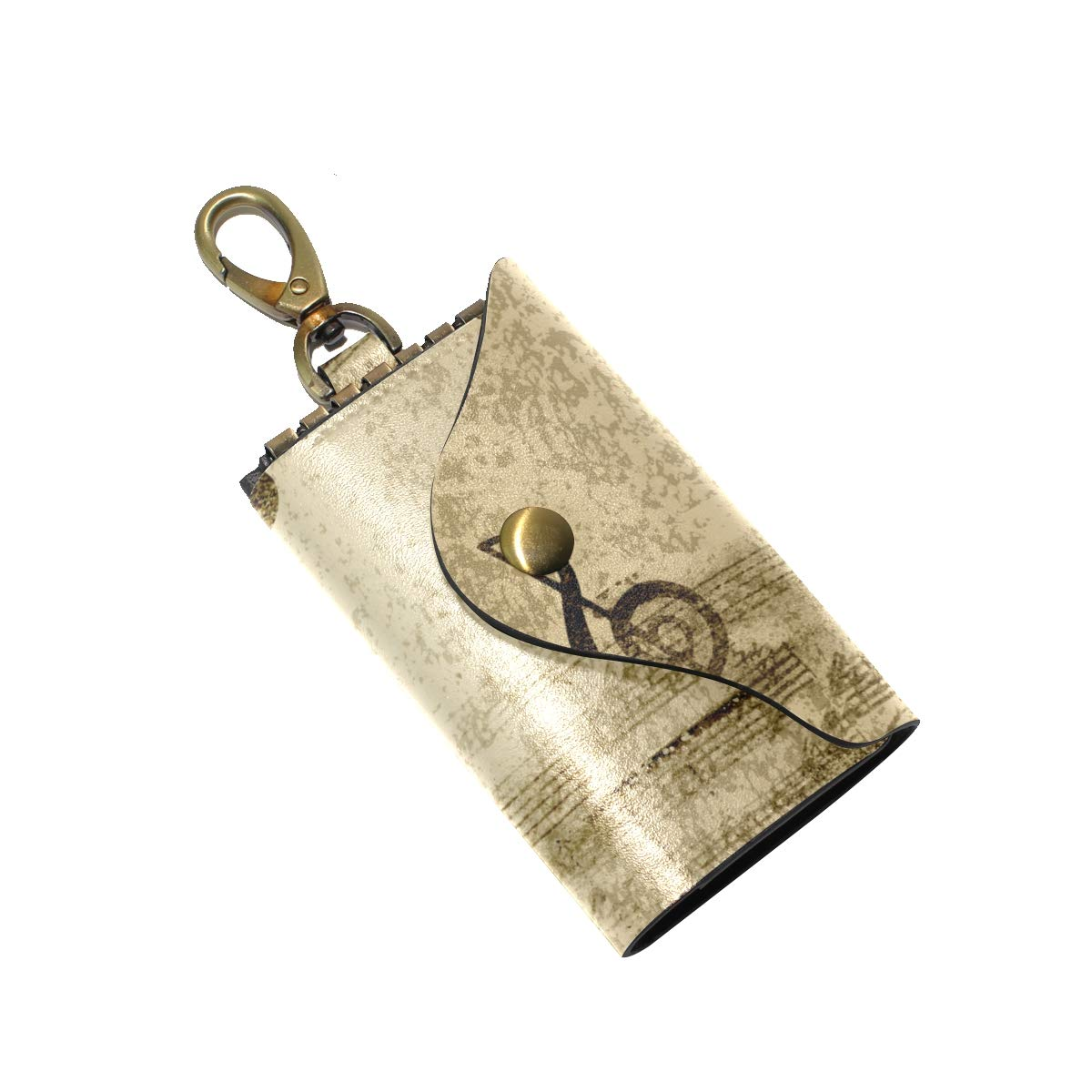 KEAKIA Music Notes Leather Key Case Wallets Tri-fold Key Holder Keychains with 6 Hooks 2 Slot Snap Closure for Men Women