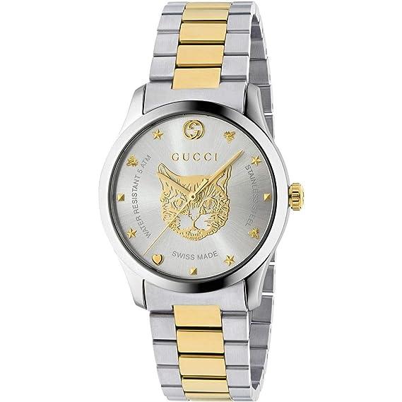 Gucci Hombre Reloj G-Timeless 38 mm de Acero Inoxidable de Oro felino YA1264074: Amazon.es: Relojes