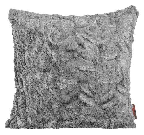 Fluffy Kissenhülle 40 x 40 cm Felloptik kuschelweicher Plüsch (005 mittelgrau) 1 Stück