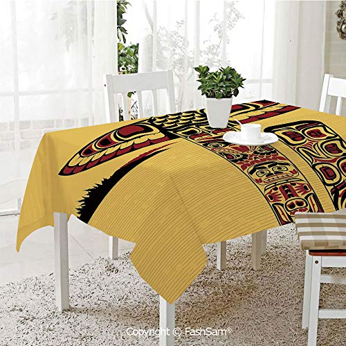 Party Decorations Tablecloth Illustration of North American Totem Pole Ancient Spirit Native Artsy Kitchen Rectangular Table Cover (W60 xL104)]()