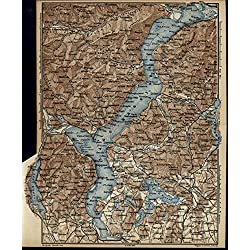 Lake Maggiore Cuvio Gavirate Rivers Italy 1879 very detailed small antique map