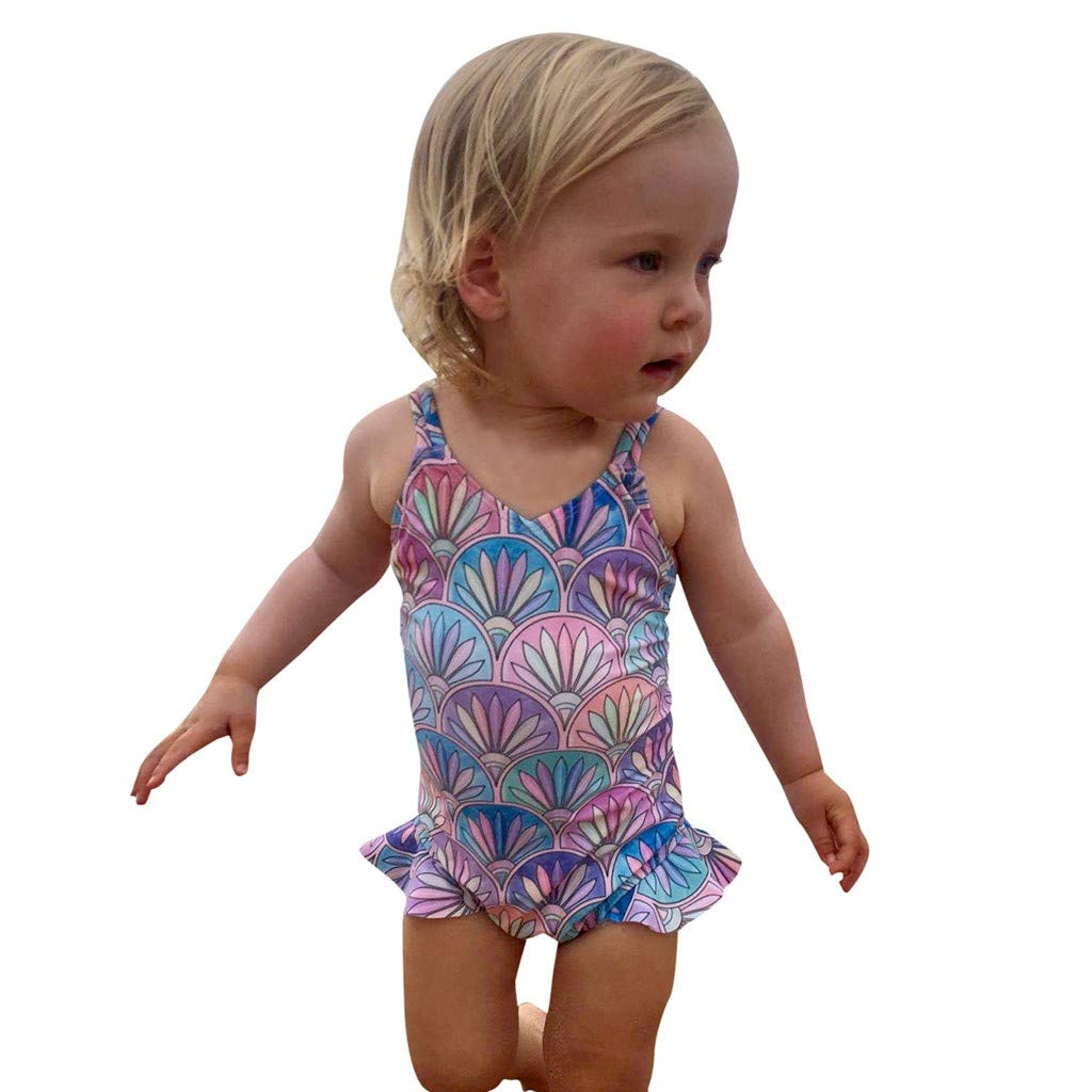 Kids Baby Girl Sleeveless Straps Print Bikini Beach One Piece Swimwear Waymine
