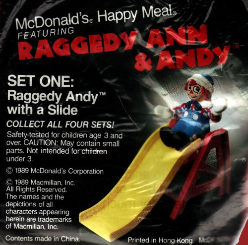 McDonalds Happy Meal Raggedy Ann & Andy #1 Raggedy Andy & Slide - 1989