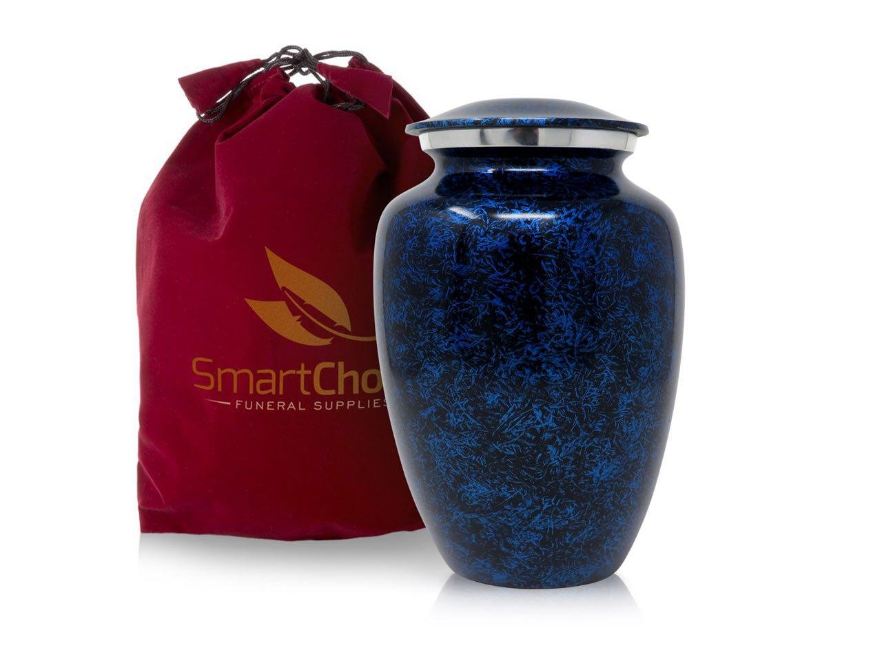 SmartChoice Cremation Urn for Human Ashes – Handcrafted Funeral Memorial Urn in Elegant Forest Blue (Adult)