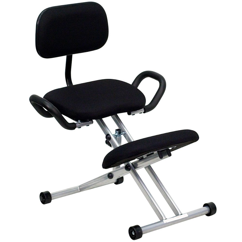 Black Ergonomic Kneeling Office Chair with Silver Steel Frame, Handles, and Back Rest