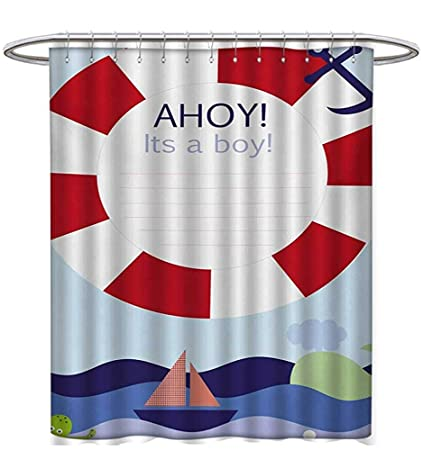 Ahoy Its A Boy Shower Curtains Digital Printing Announcement Card Inspired Composition Maritime Funny Sea Animals