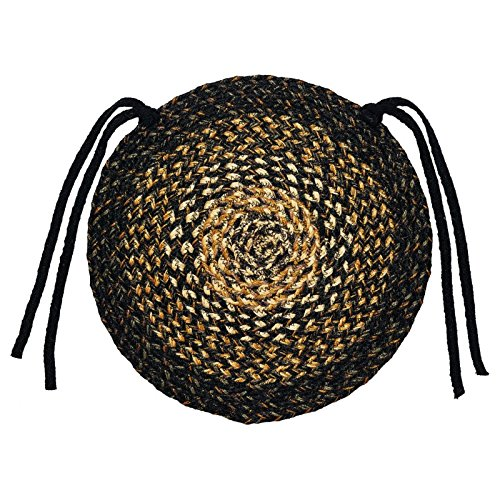 IHF Home Decor Braided Area Rug | Chair Cover Pad Round | Black Forest | 100% Natural Jute Material Fiber Rugs 15