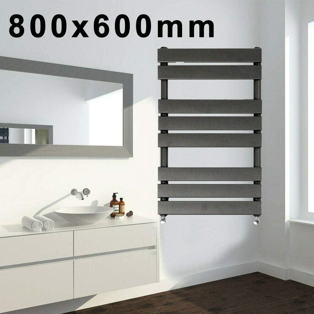 Toallero de panel plano de diseño de 800 x 450 mm, con montaje de pared para baños, cocina, pasillo, sala de estar, todos los sistemas de calefacción del Reino Unido, CE