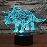3D Illusion Dinosaur Night Light, 7 Color Change Desk Table Decor Lamp for Baby Nursery Bedroom - Perfect Gifts for Kids and Dinosaur Animal Lover by YKL World(Triceratops)