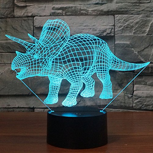 3D Illusion Dinosaur Night Light, 7 Color Change Desk Table Decor Lamp for Baby Nursery Bedroom - Perfect Gifts for Kids and Dinosaur Animal Lover by YKL World(Triceratops) by YKL WORLD