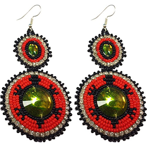 - Beaded Turtle Earrings Handmade Glass Seed Beads (E-58-SB-66)