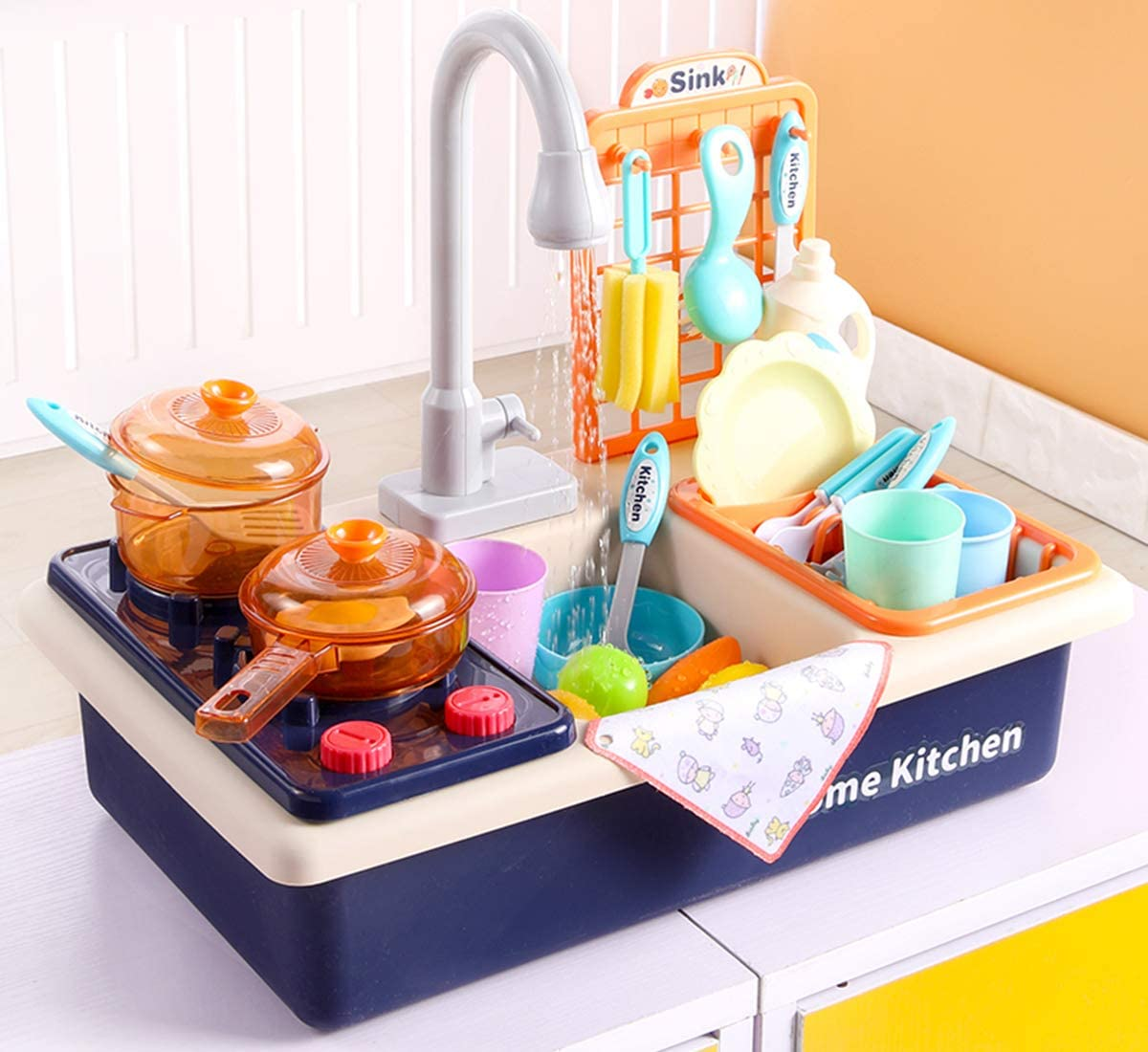 Play Kitchen Sink Toys with Automatic Faucets, Kids Kitchen Set Dishwasher with Cooking Stove, Tableware and Accessories Pretend Role Play Toys for Toddlers Boys Girls Aged 2 3 4 5 6(Blue)