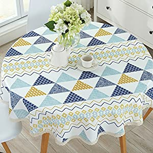 CrazyKitchenDecor PVC Round Table Cloth Waterproof Oilproof Floral Printed Lace Edge Plastic Table Covers Anti Hot…