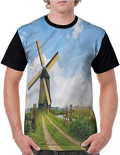 BlountDecor Round Neck T-Shirt,Paintbrush Amsterdam Street Fashion Personality Customization