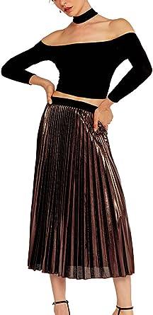 GUOCU Mujer Faldas Largas Fiesta Plisadas Cintura Alta Elegantes ...