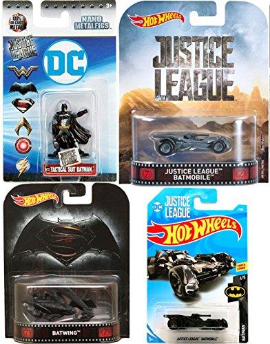 2018 Justice League Batmobile Batman Set #1 + Batman V Superman Batwing & Justice League Retro Entertainment Real Riders & Miniature Metal Figure JL Tactical Suit DC32 collectible toy bundle set