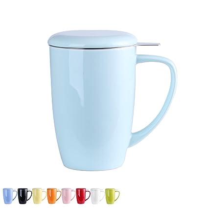 LOVECASA Tazas de Té con Tapa y Filtro Acero Inoxidable 450 ML, Taza Tisana de Porcelana Azul Claro