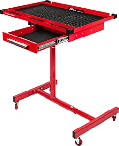 TODOCOPE 200 lbs Capacity Adjustable Work Table with Drawer Rolling Tool Tray with Wheels, paint coating,strong outer packing,Red