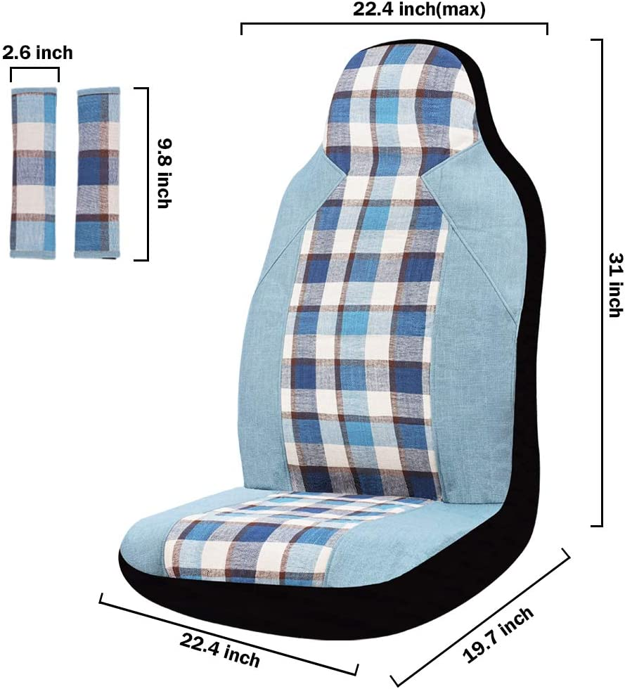 INFANZIA Car Front Seat Covers Featured Pattern Auto Seat Cover with Seat Belt Covers Fit Car Truck Van SUV Blue Grid 4Pcs