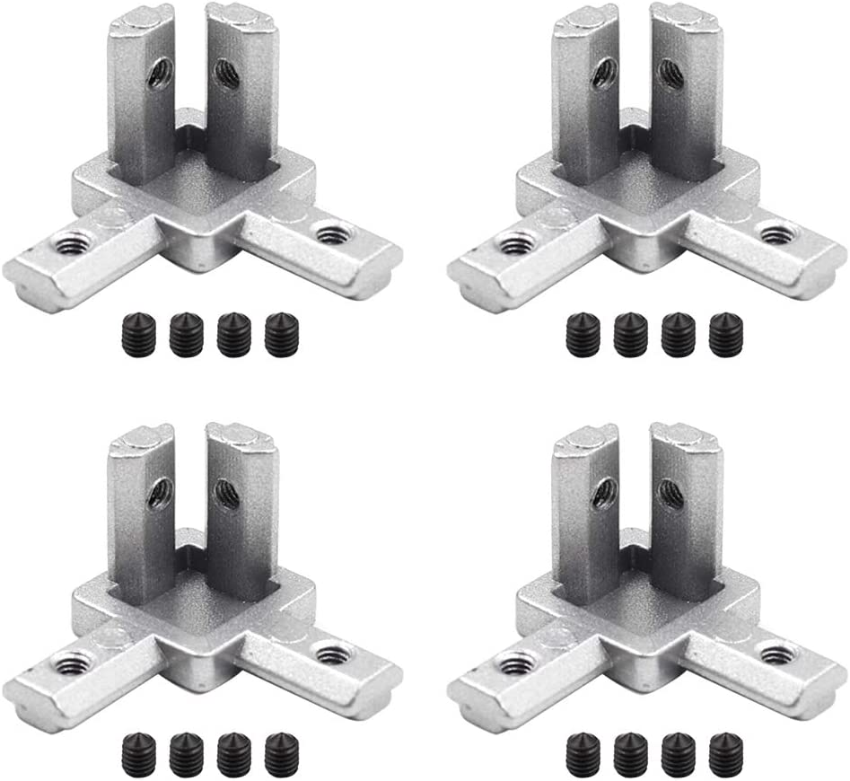 SiinvdaBZX 4 Pcs 2020 Series 3-Way End Corner Bracket Connector for European Standard 6mm T Slot Aluminum Extrusion Profile with Screws