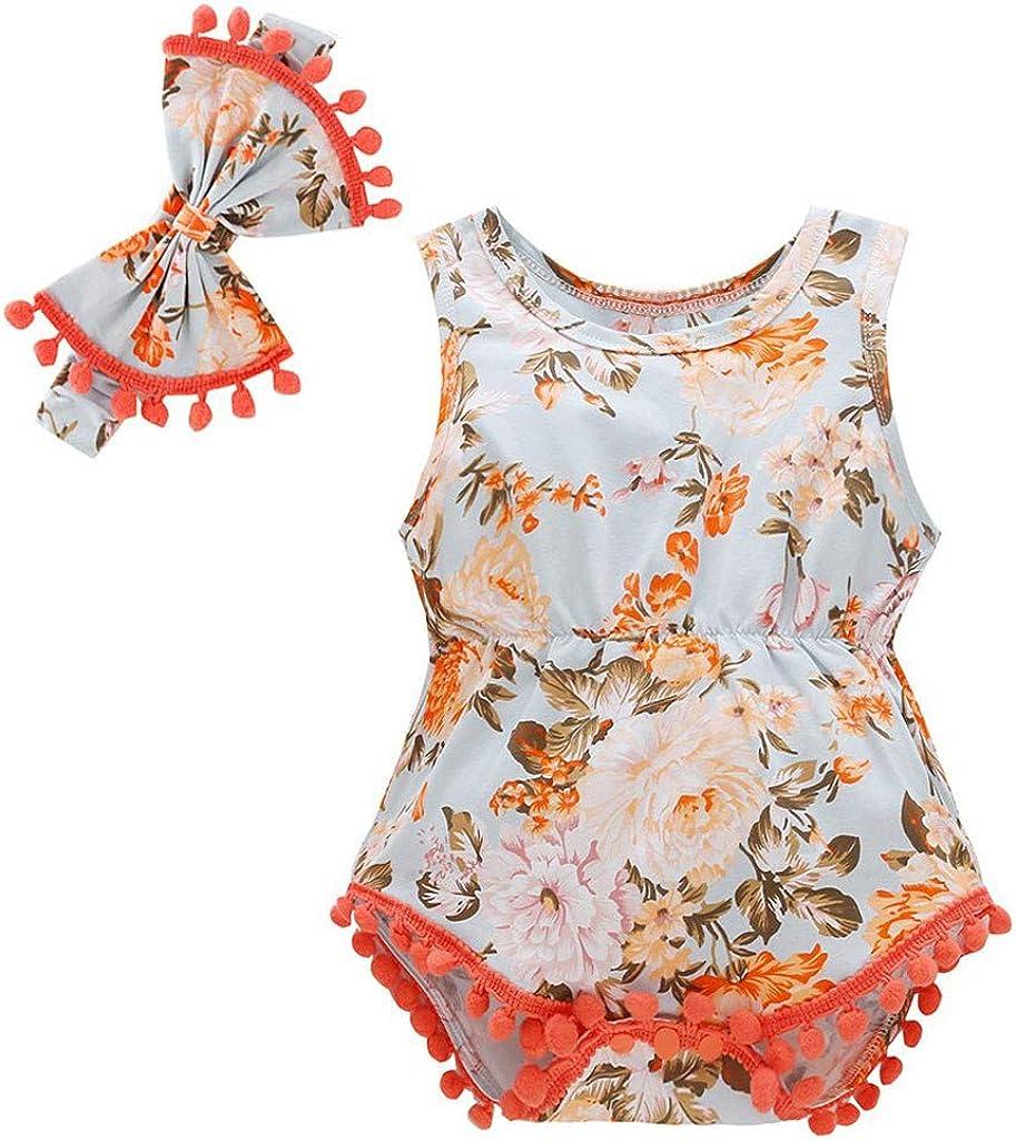 WOCACHI New Born Baby Girls Boys Pompom Romper Newborn Infant Tassel Floral Bodysuits 2PCS Outfits Set with Headband