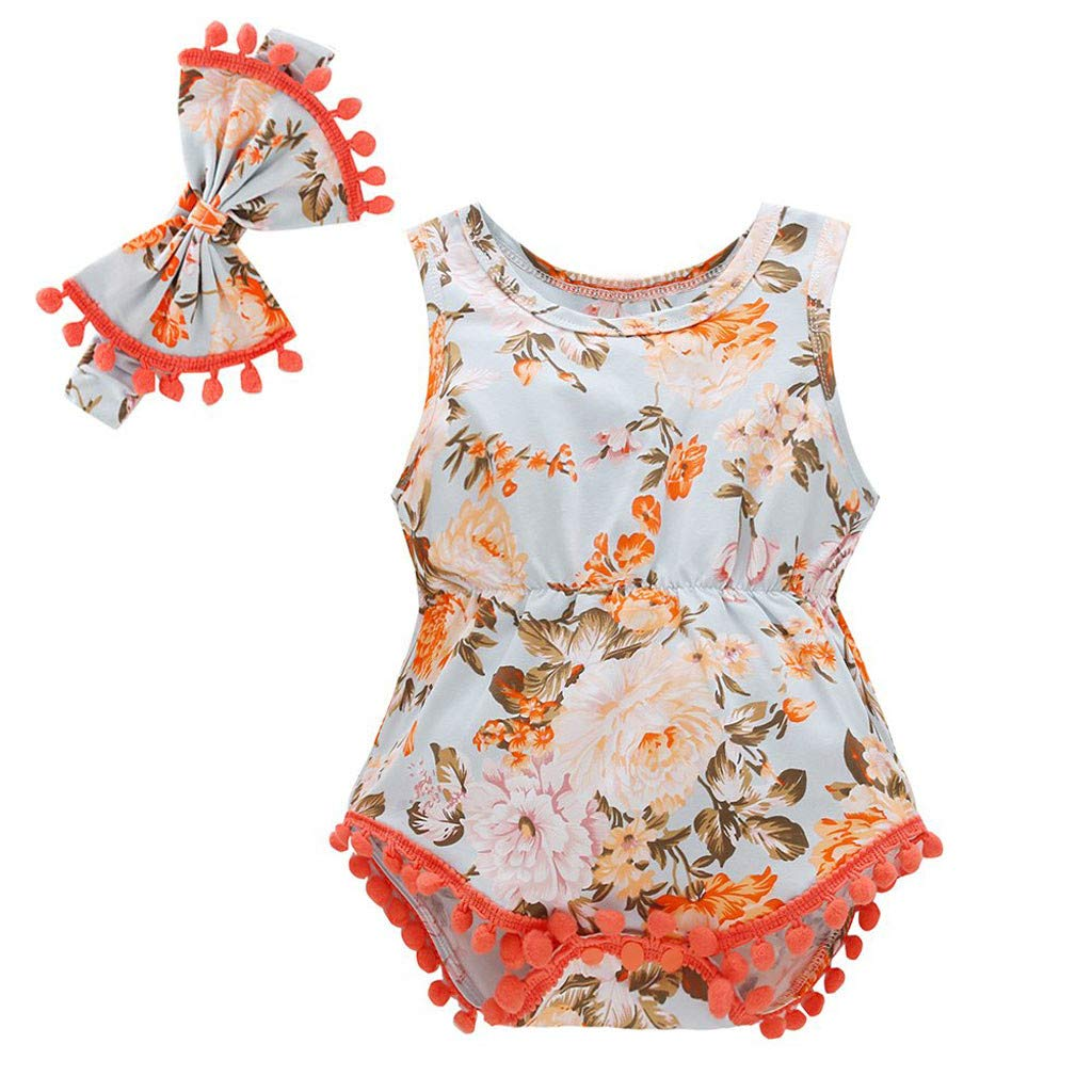 HANANei 0M-18M Baby Romper Newborn Infant Baby Girl Boy Floral Tassels Romper Bodysuit Headband Outfits Set (0-3 M, Orange)