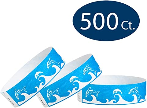 Paper Wristband Tyvek Armband Bracelet Blue Dolphins Waterproof Ink Secure Party