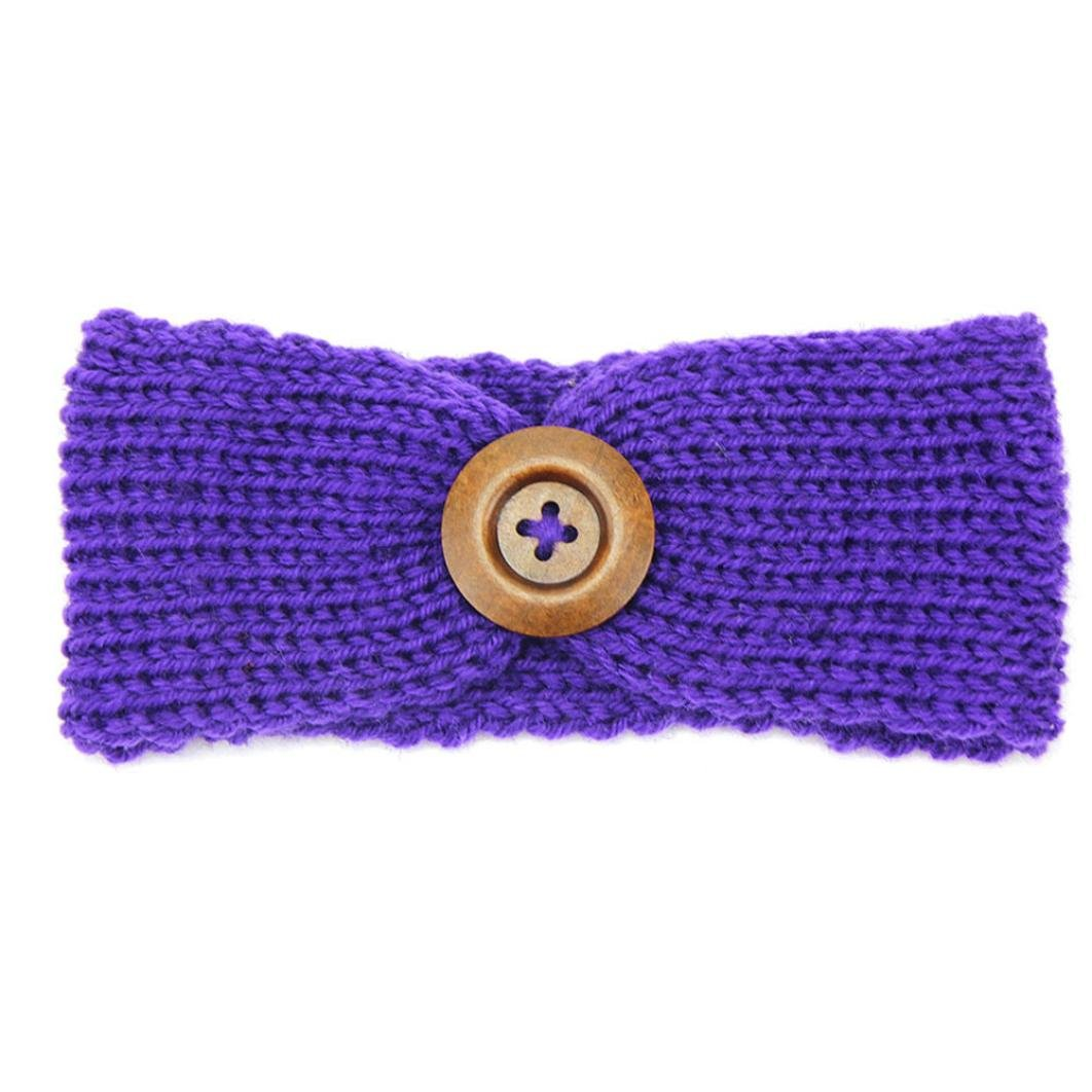 DaySeventh Baby Knitting Infant Kids Girl Button Headbands Head Wrap Knotted Hair Band (Purple)