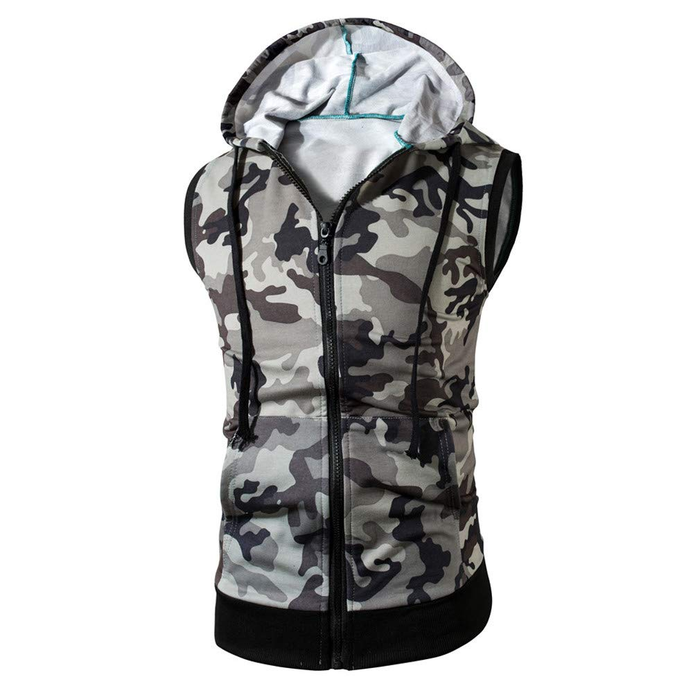 Camouflage Men Tank Hooded Top Vest Sleeveless T Shirt Long Sleeve Cami Tee Shirt Casual Hoodie