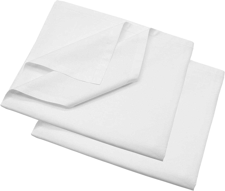 Blanc ZOLLNER Lot de 2 Drap en Cotton 150x260 cm