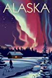 Alaska - Northern Lights and Cabin (12x18 Art Print, Wall Decor Travel Poster)