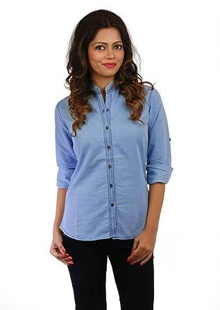71179f8d5f7a1d Trendy frog Women Long Sleeve Solid Denim Shirt Top, Light Blue, Medium Size