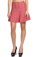 TheMogan Women's Checkered Print Flutter Flared A-line Stretch Knit Skirt
