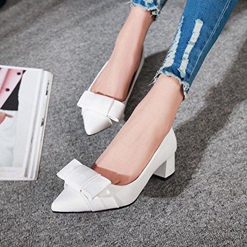 Mee Shoes Damen süß chunky heels mit Schleife Pumps Weiß