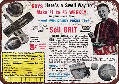 (TFCD 1964 Sell Grit Newspapers and Make Money Vintage Look Reproduction Metal Tin Sign 7.8 11.8 inch inches)