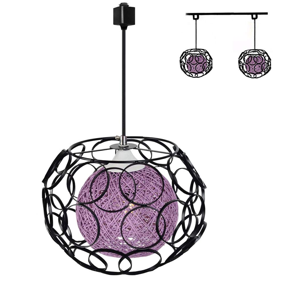 TB0259-B Kiven H-Type 3 Wire Track Light Pendants Length 4.9 feet Restaurant Chandelier Decorative Chandelier Instant Pendant Light Bulb not Include Handmade Rattan Ball Pendant Lamp Blue