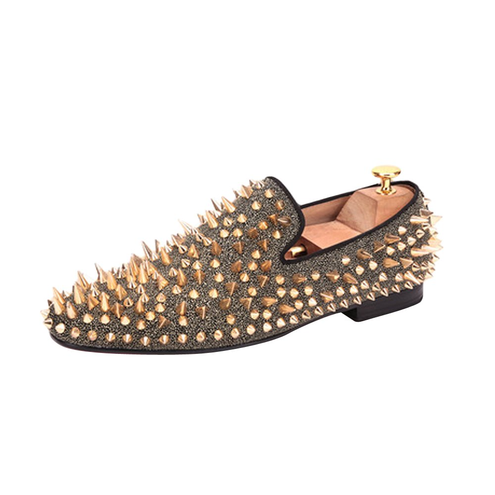 Men's Long Gold Rivet Fashion Stress Shoes Wedding Party Slip on Flats Gold US size 11