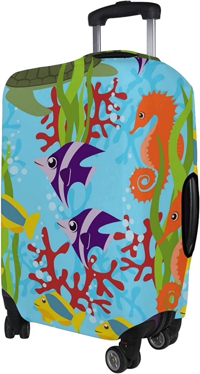 LAVOVO Sea Life Turtle Coral Seaweed Luggage Cover Suitcase Protector Carry On Covers