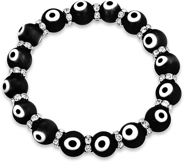 Ecloud Shop/® Round Blue Evil Eye Lampwork Glass Beads Bracelet 0.39 FASHION