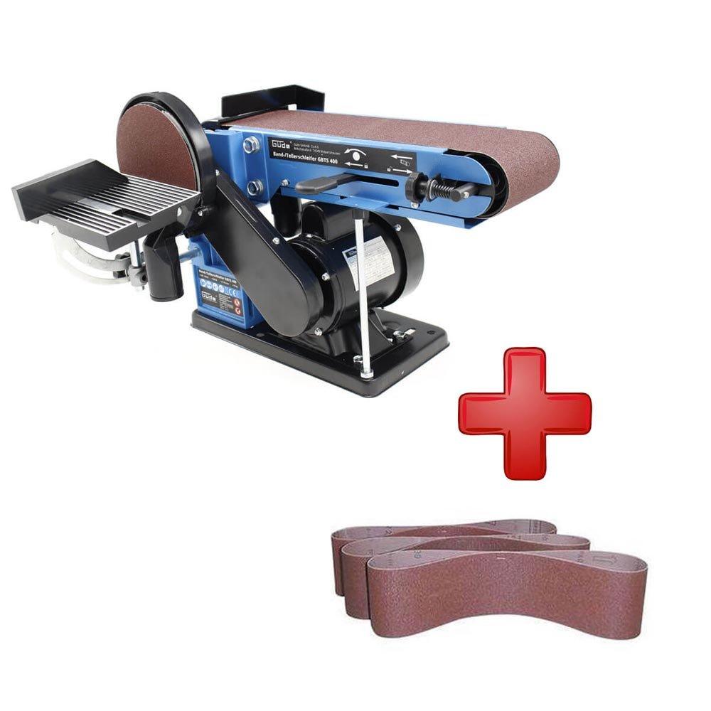 Gü de Bandschleifer & Tellerschleifer GBTS 400 + 3x3 Schleifscheiben K 100, K 120, K 180 WD Tools