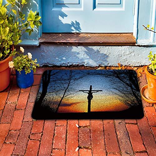 Prime Leader Soft Outdoor Indoor Doormats Absorbs Mud Carpet- Sunset Crucifix 18