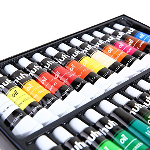 Ohuhu Oil Paint Set, 24 Oil-based Colors, Artists Paints Oil Painting Set, 12ml x 24 - Set Oil Painting