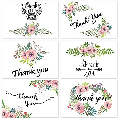 Free Baby Shower Thank You Notes - Thank You Cards Flower Greeting Cards -Floral Thank you Notes for Baby Shower Wedding Business Anniversary -Thank You Cards Set 4 x 6 inches 48 Blank Inside-48 pack Envelopes and Sticker