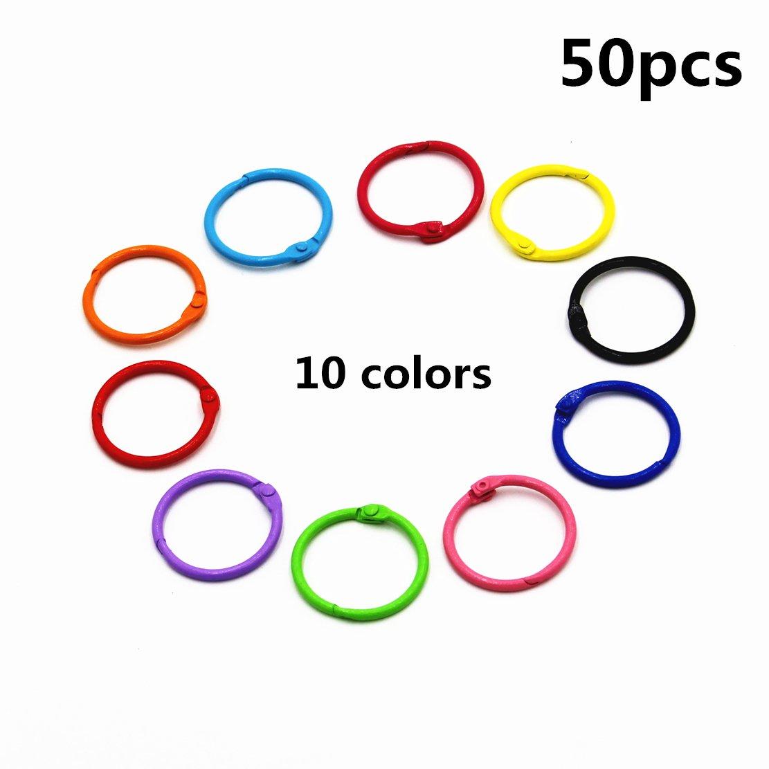 Colored Loose Leaf Binder Rings Metal Book Rings 1 Inch, Multicolor, 50 Pieces