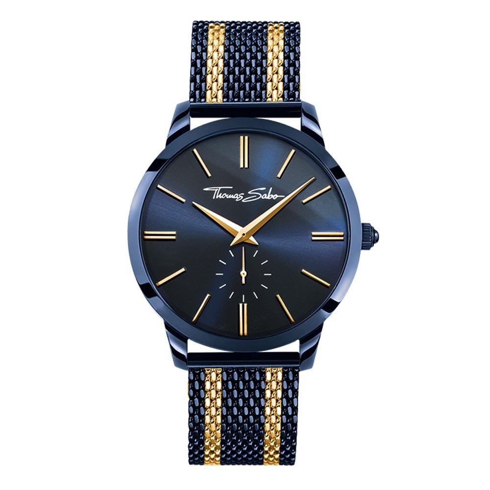426c47b1b03 THOMAS SABO Men Men s Watch Rebel Spirit Stainless Steel Blue Ion-Plated Mesh  Bracelet with Yellow Gold-Coloured Stripes WA0283-286-209